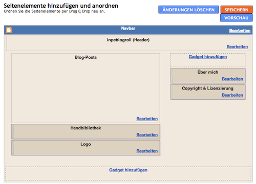 Screenshot vom Blogger Seitenlayout